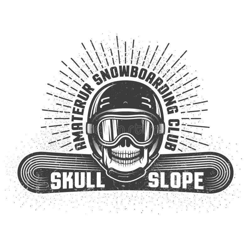 Faire du surf des neiges le rétro logo avec le crâne dans le casque et les lunettes de sports illustration stock