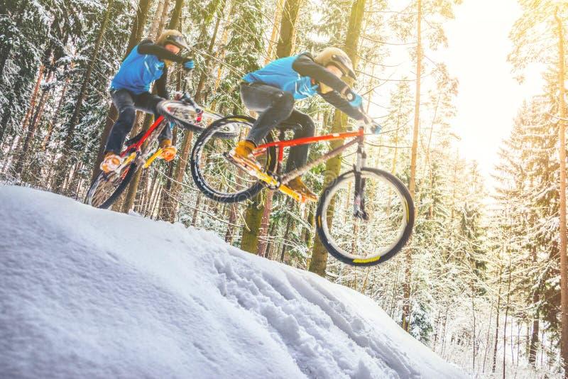 Faire du vélo de montagne dans la forêt neigeuse images libres de droits