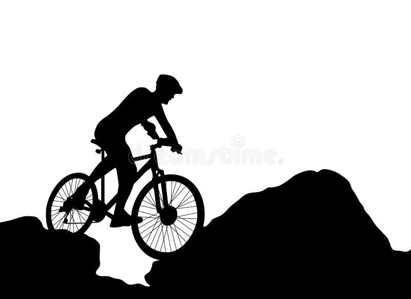 Faire du vélo extrême de silhouette de cycliste illustration libre de droits