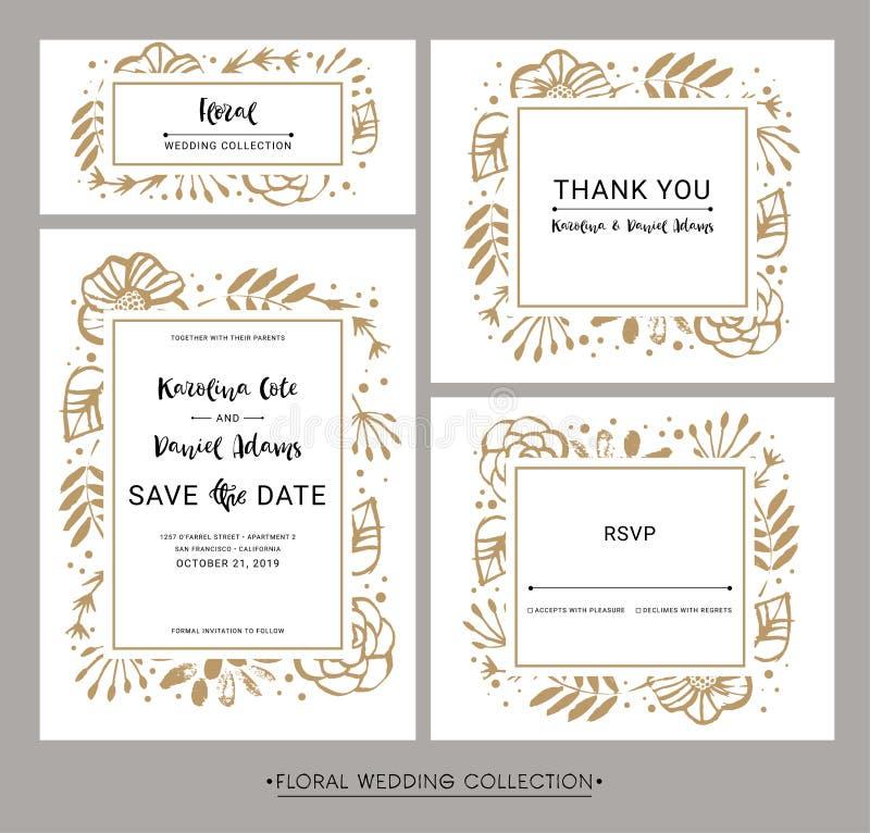 Faire gagner la datte Cartes florales de calligraphie d'invitation de mariage avec illustration libre de droits