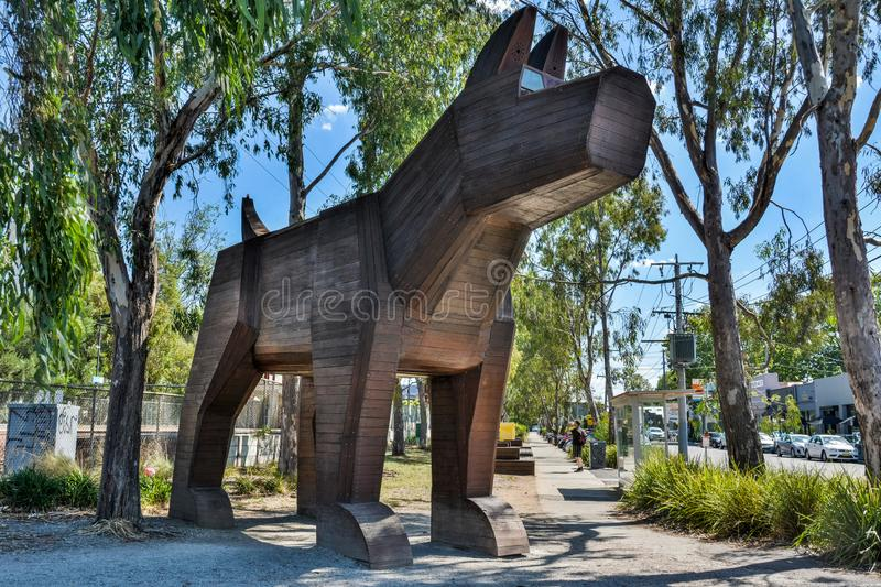 Fairfield Industrial Dog Object FIDO in Fairfield suburb of Melbourne. Fairfield, Melbourne, Victoria, Australia - March 8, 2017. Fairfield Industrial Dog Object stock image