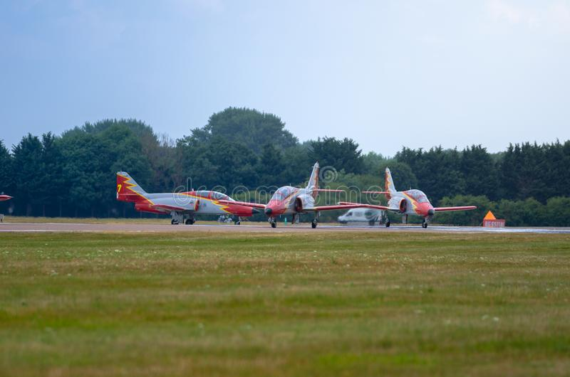 FAIRFORD, UK, JULY 13 2018: A photograph documenting athe Patrulla Aguila from the Spanish Air Force displaying their aerobatic C stock photo