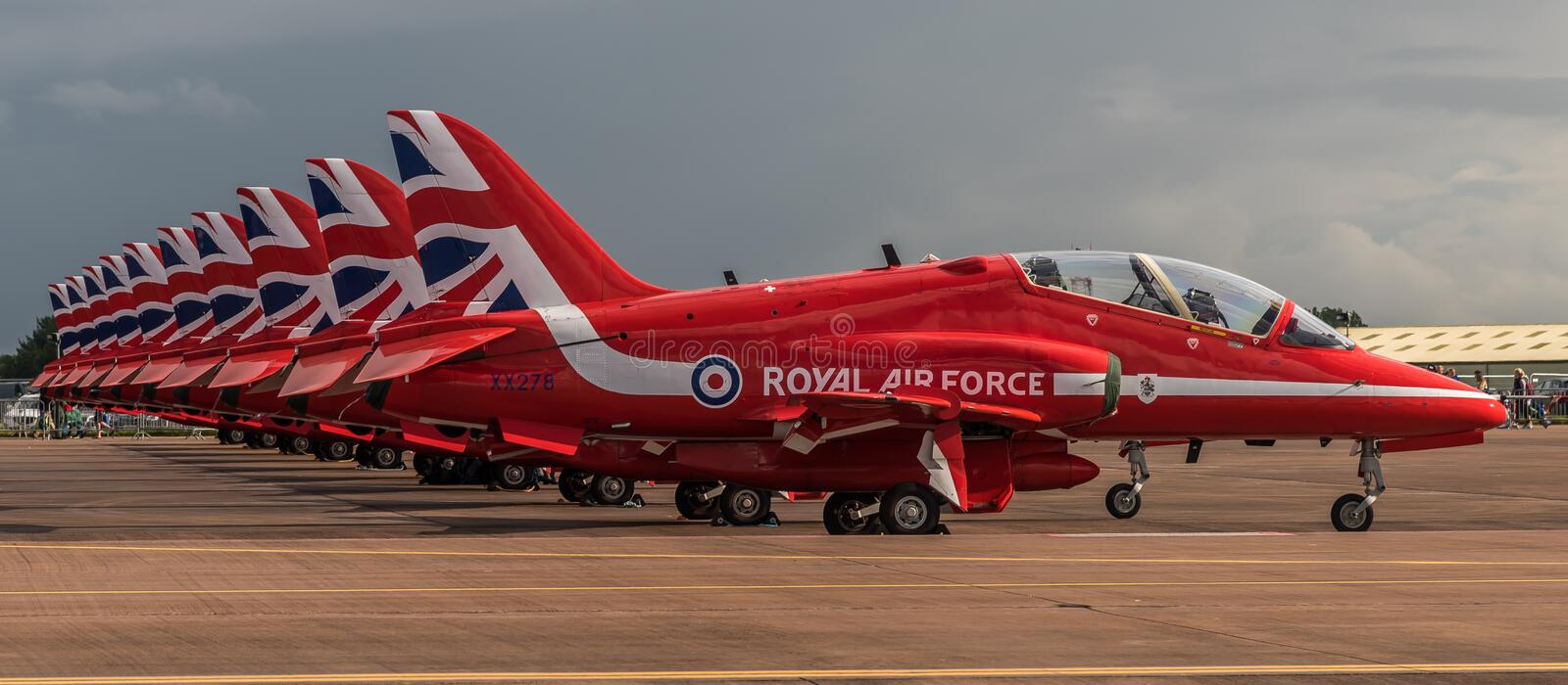 FAIRFORD, UK - JULY 10: Red Arrows Aircraft participates in the Royal International Air Tattoo Air show event July 10, 2016. FAIRFORD, UK - JULY 10: Royal Air stock photography
