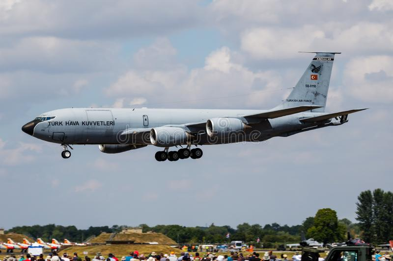 Turkish Air Force Boeing KC-135 Stratotanker 58-0110 tanker plane arrival and landing for RIAT Royal International Air Tattoo 2018. FAIRFORD / UNITED KINGDOM royalty free stock image