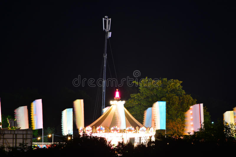 Download Fairground Carousel And Flags Stock Photo - Image: 93425022
