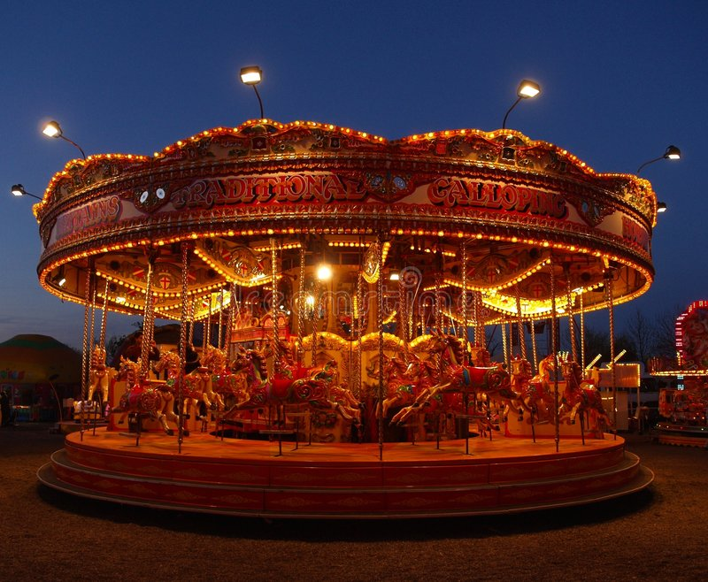 Download Fairground Carousel At Night Stock Image - Image: 8958303