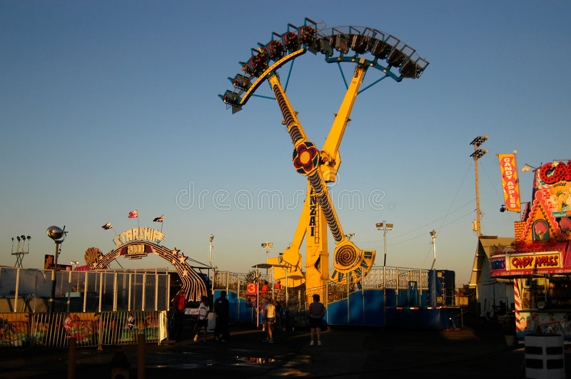 Download Fairground at dusk stock image. Image of attractions, fairground - 129297