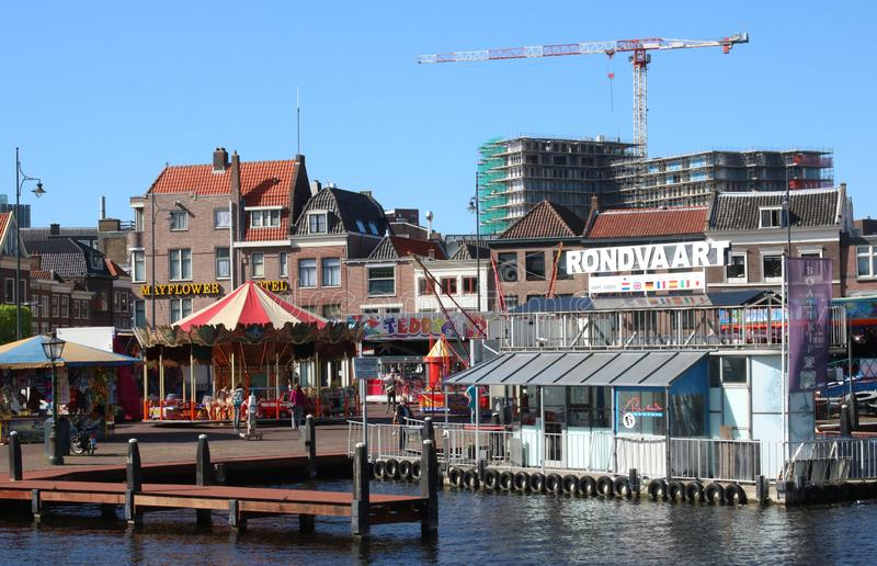 Fairground rides,  boat trips, Leiden, Netherlands stock images