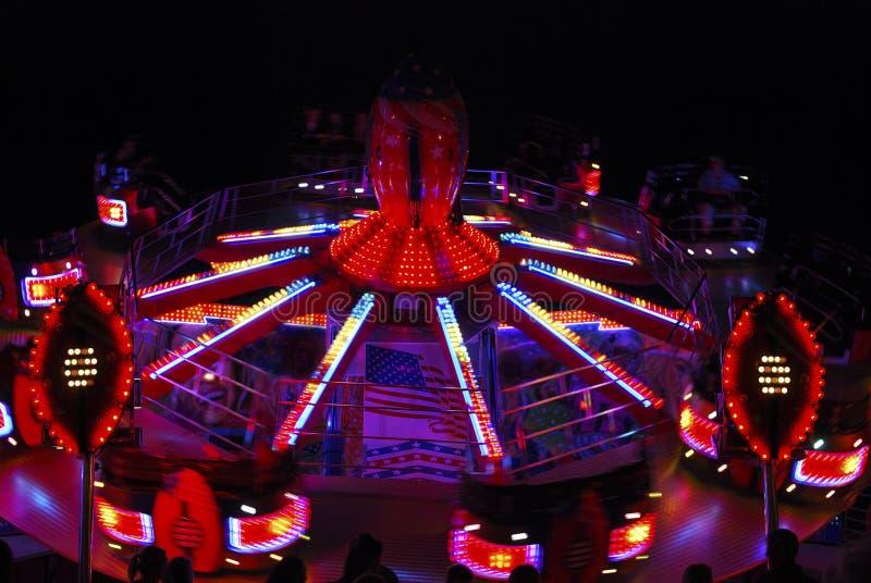 Fairground Roundabout At Night Stock Photo