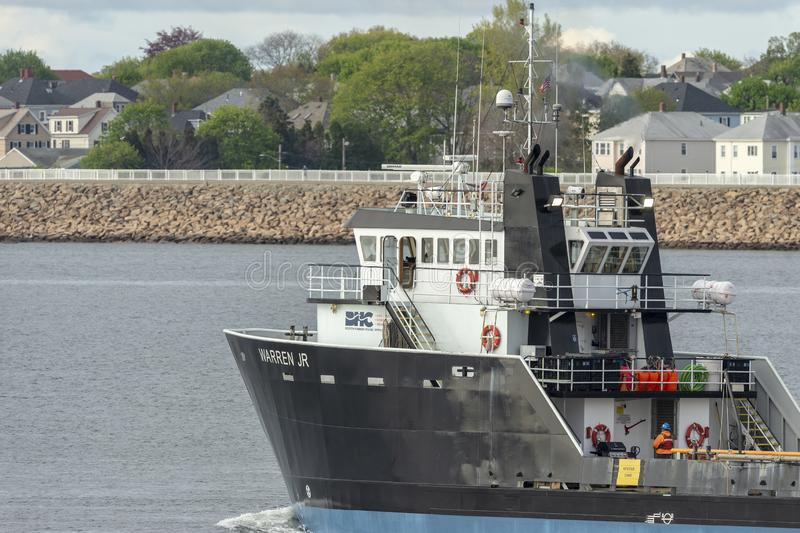 Offshore supply vessel Warren Jr heading toward Buzzards Bay royalty free stock images