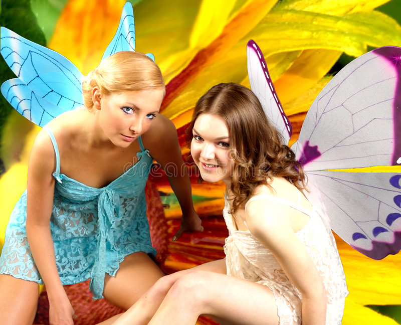 Download Fairies 8 stock image. Image of girls, smile, yellow, unreal - 951727