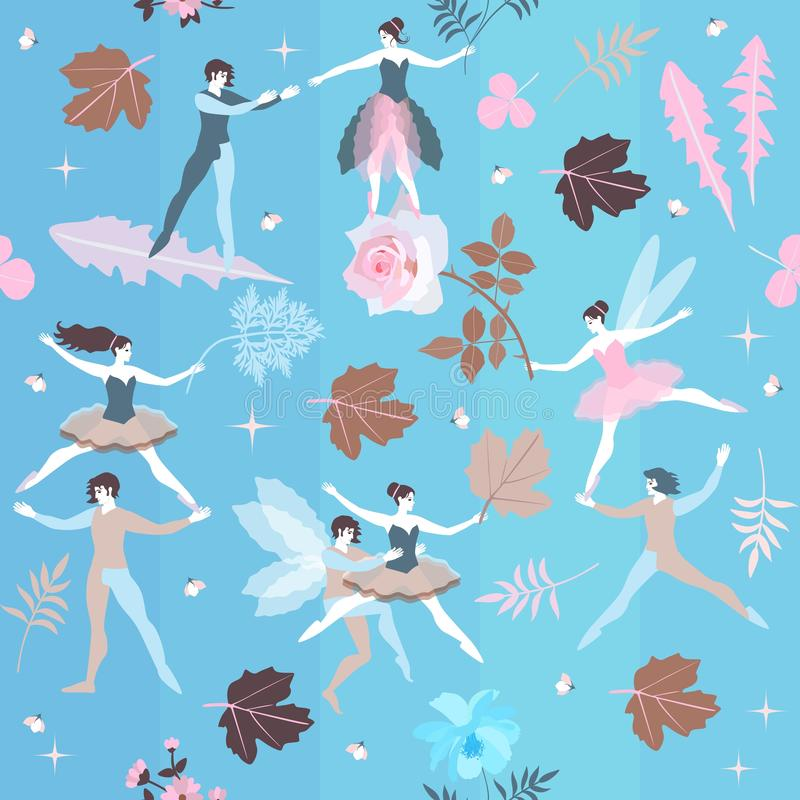 Fairies and elves dance in blue sky among blooming flowers. Magic ballet in spring garden. Vector illustration royalty free illustration