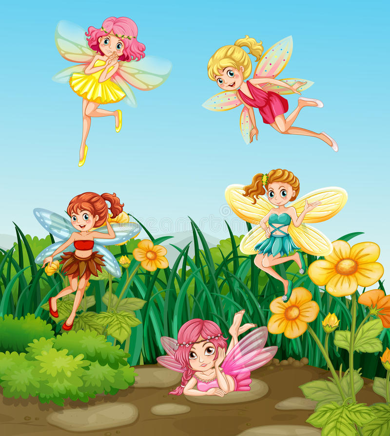 Fairies flying. Beautiful fairies flying in the garden royalty free illustration