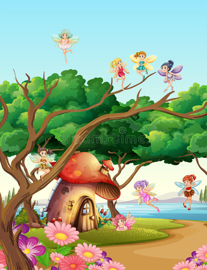 Fairies flying in the garden. Illustration royalty free illustration