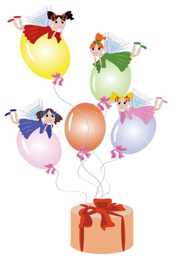 Free Fairies Flying On Balloons Royalty Free Stock Photo - 16588675