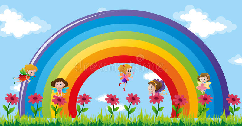 Fairies flying over the rainbow. Illustration vector illustration