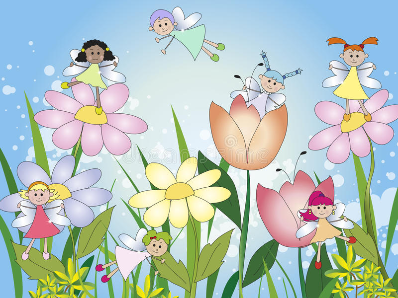Fairies. Illustration of fairies in the flowers royalty free illustration