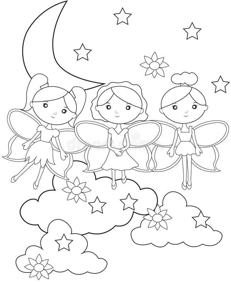 Fairies on the sky coloring page royalty free illustration