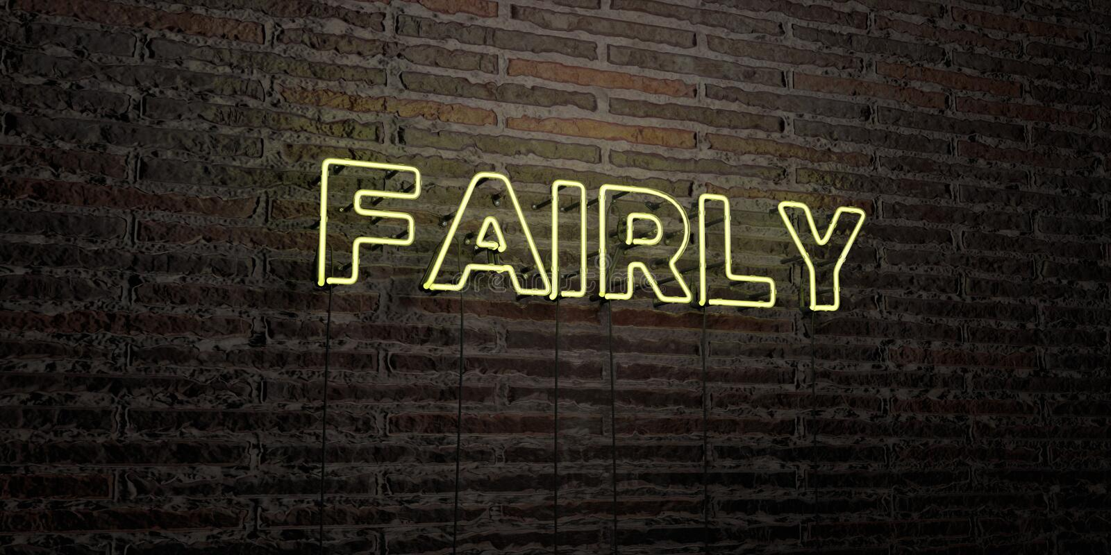 FAIRLY -Realistic Neon Sign on Brick Wall background - 3D rendered royalty free stock image. Can be used for online banner ads and direct mailers vector illustration
