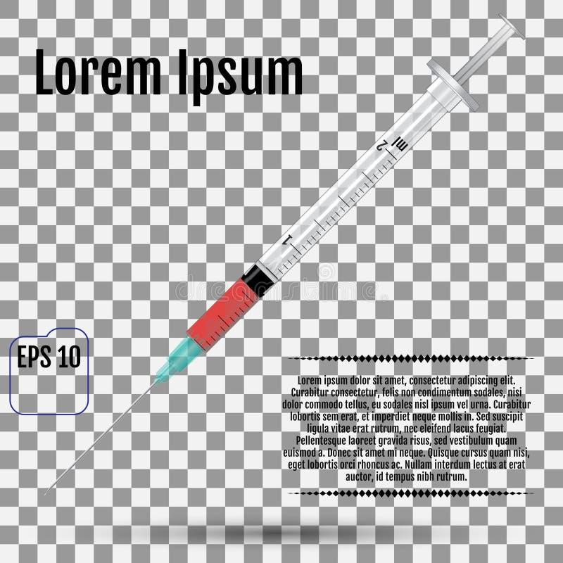 Fairly standard design single use syringe over transpar. Ent background. Realistic vector syringe vector illustration