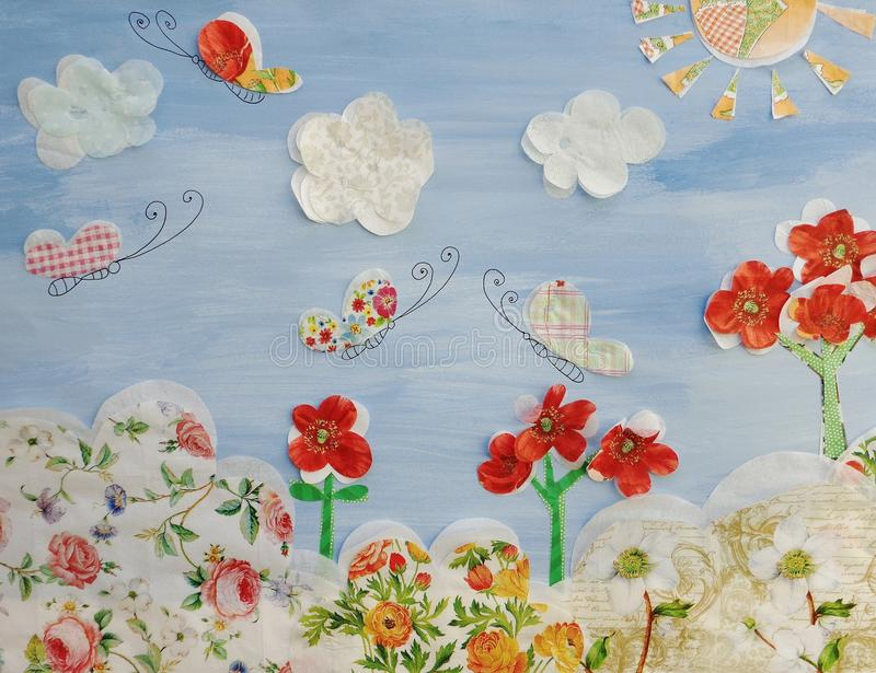 Fairly tale landscape. Art collage, colorful illustration for children stock illustration
