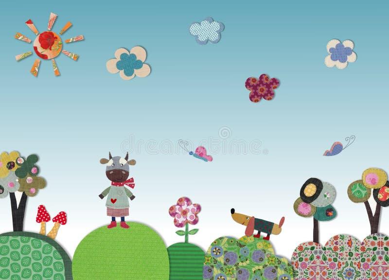 Fairly tale landscape. Artistic work, colorful illustration for children vector illustration
