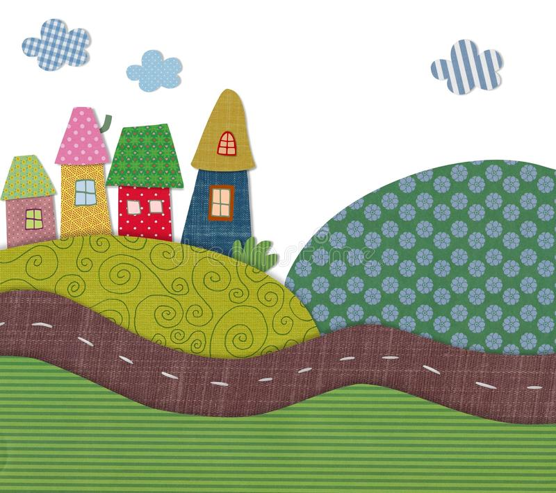 Fairly tale landscape. Colorful fabric and paper quiltting royalty free illustration