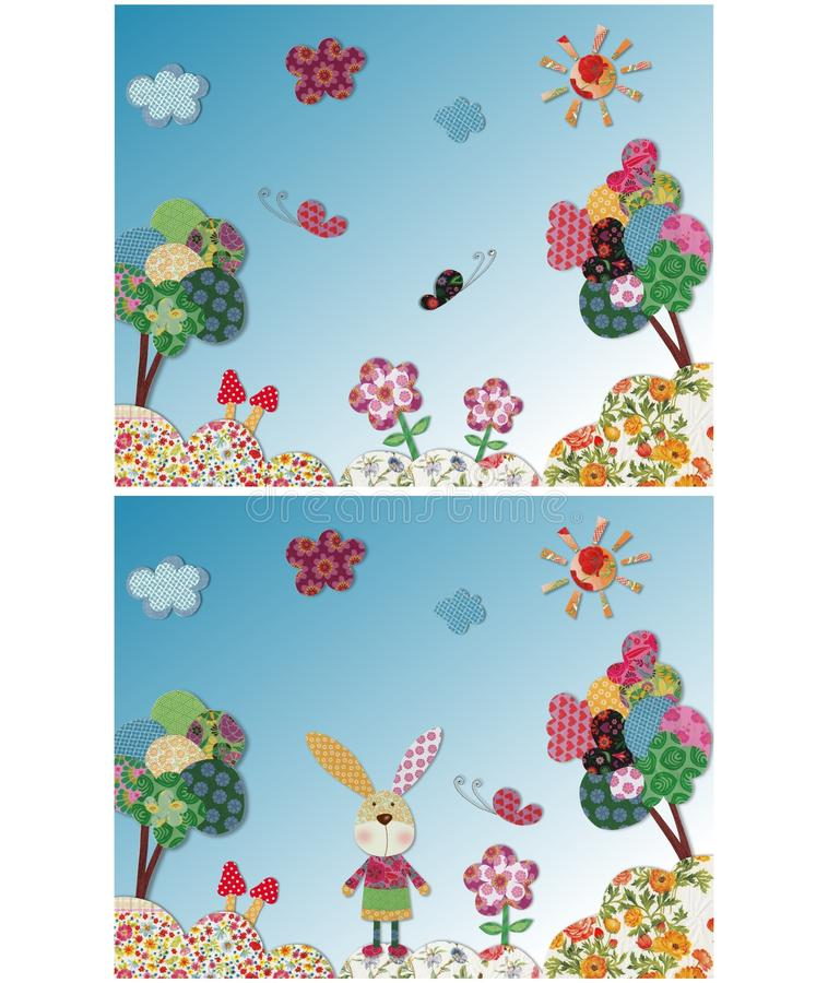 Fairly tale landscape. Colorful quilt design with fabric and paper vector illustration