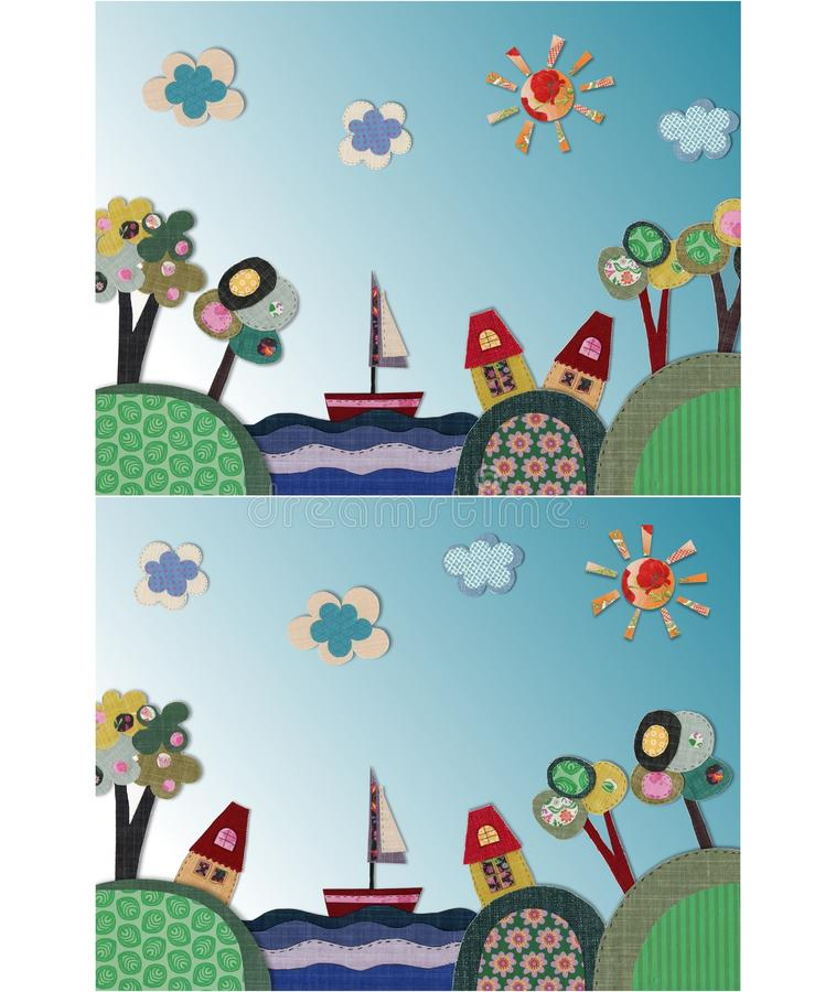 Fairly tale landscape. Colorful quilt design with fabric and paper stock illustration