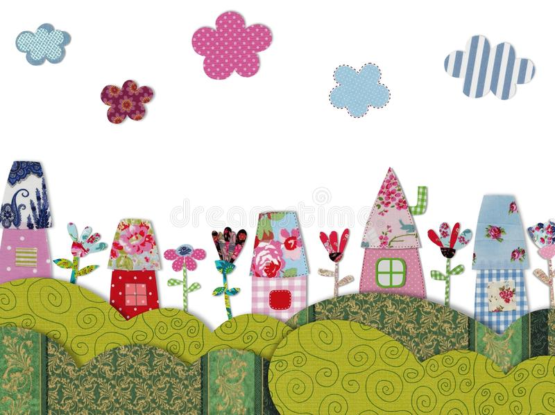 Fairly tale landscape. Colorful quilt design with fabric and paper royalty free illustration