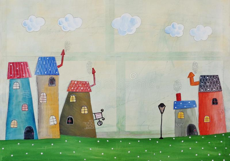 Fairly tale town. Artistic work. Ink and watercolors on paper stock illustration