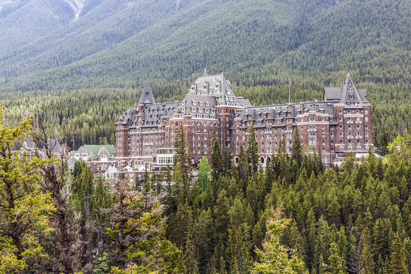 Fairmont Banff Spring Hotel II. Located in the heart of Banff National Park, the world famous Fairmont Banff Springs hotel stands as a landmark in the royalty free stock photography