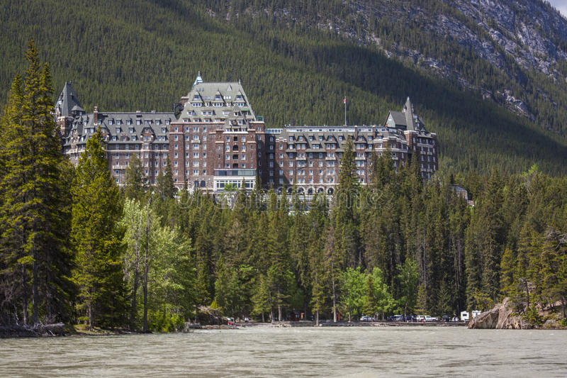 Fairmont Banff Springs Hotel. From the Bow River royalty free stock photography