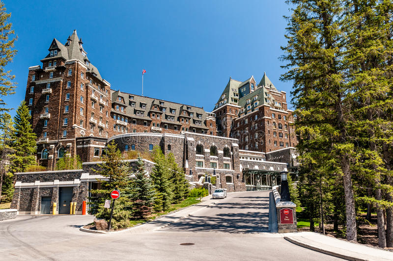 Fairmont Banff Springs Hotel. Front view of Fairmont Banff Springs Hotel, Banff, Alberta royalty free stock photo
