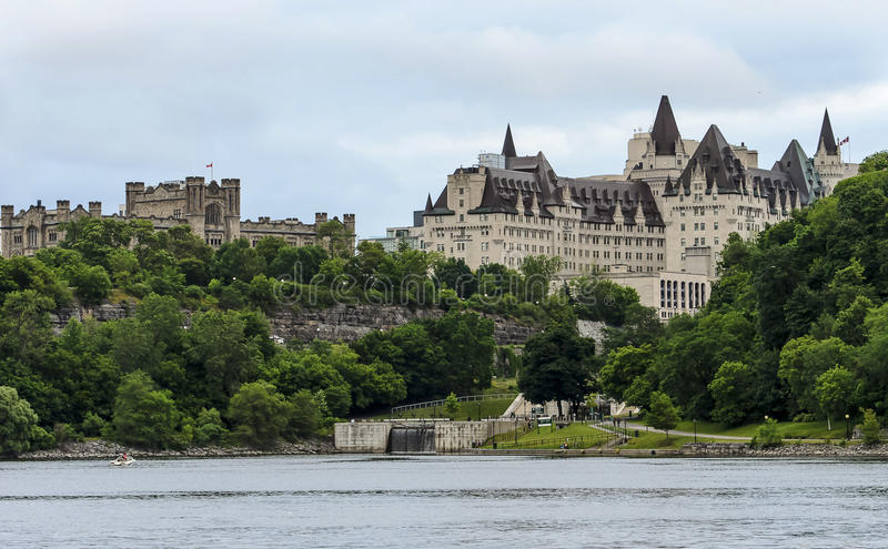 Fairmont Chateau. The Fairmont Chateau Laurier Hotel and the Rideau locks along with Canada Revenue Agency Headquarters in downtown Ottawa stock photos