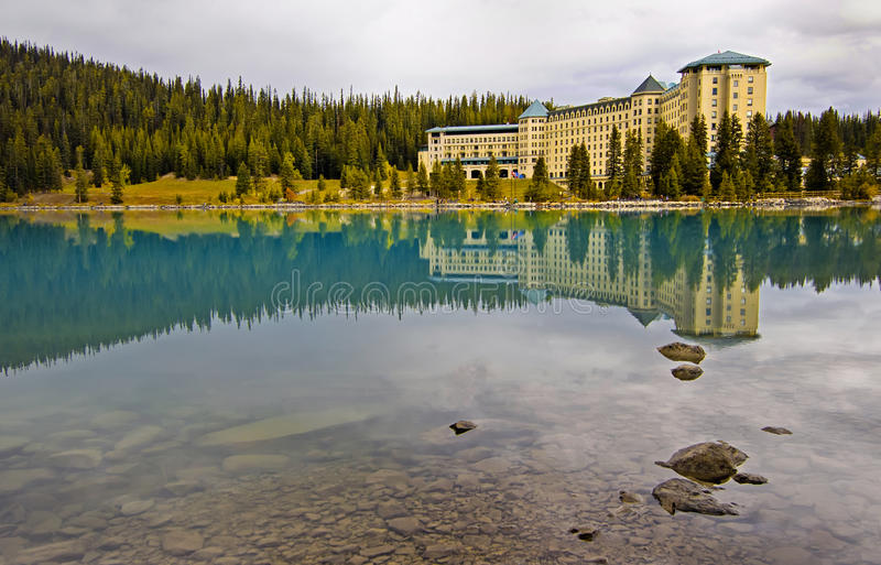 Fairmont Chateau at Lake Louise. Reflection over Lake Louise, Banff National Park, Alberta, Canada royalty free stock photography