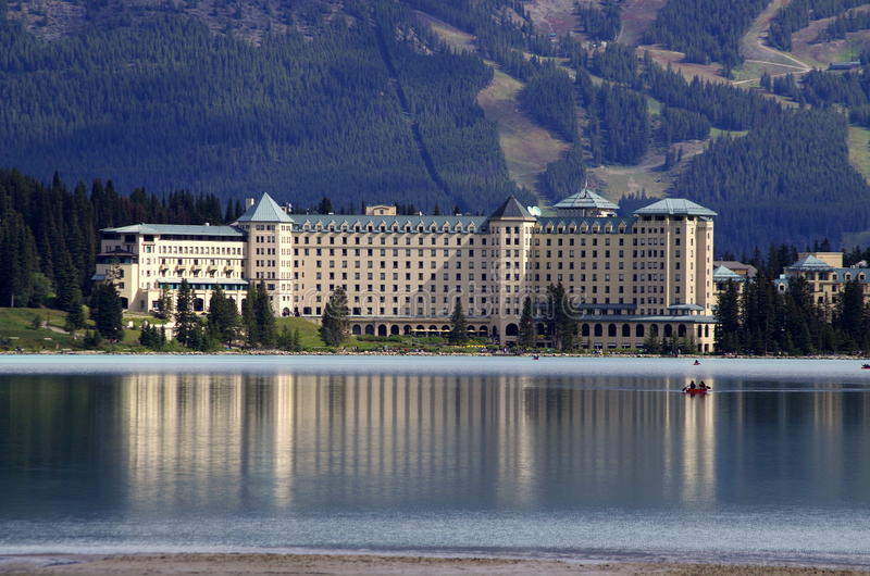 Fairmont Chateau Lake Louise Resort Hotel. Fairmont Chateau Hotel seen across Lake Louise, in Alberta, Canada, Banff National Park, in The Canadian Rockies royalty free stock photo