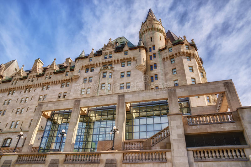 Fairmont Chateau Laurier. Sunny summer day. Under view royalty free stock photography