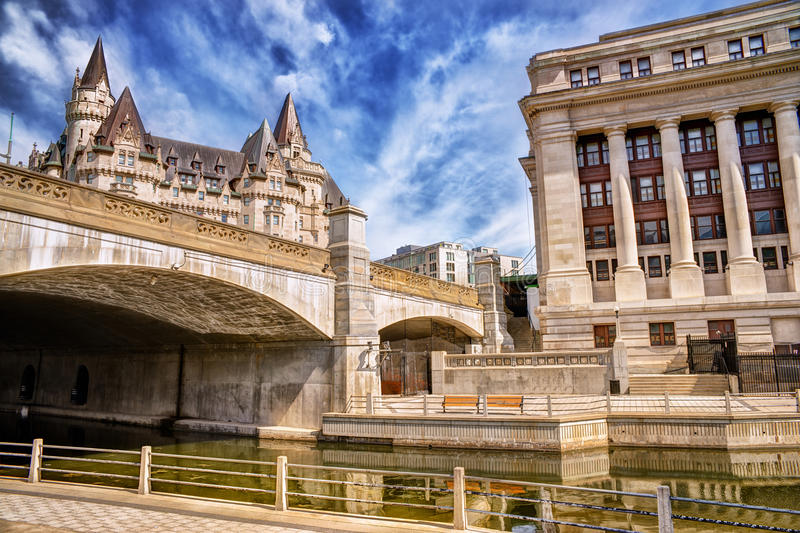 Fairmont Chateau Laurier. Sunny summer day. Under view stock photos