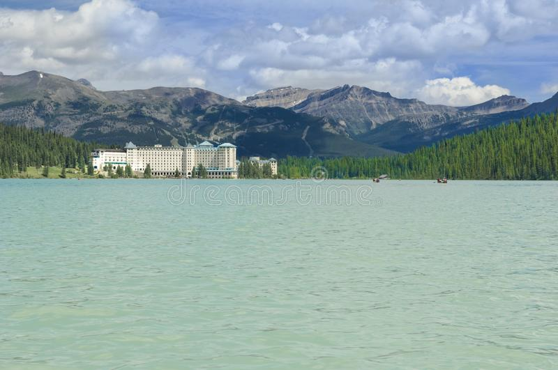 Fairmont Chateau at Lake Louise, Canada. Fairmont Chateau at the shore of Lake Louise, Canada royalty free stock photography