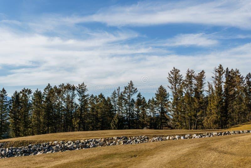 FAIRMONT DE HETE LENTES, CANADA - MAART 22, 2019: Het gebied van de golfcursus in kleine stad in rotsachtige bergen zonnige midda stock afbeelding