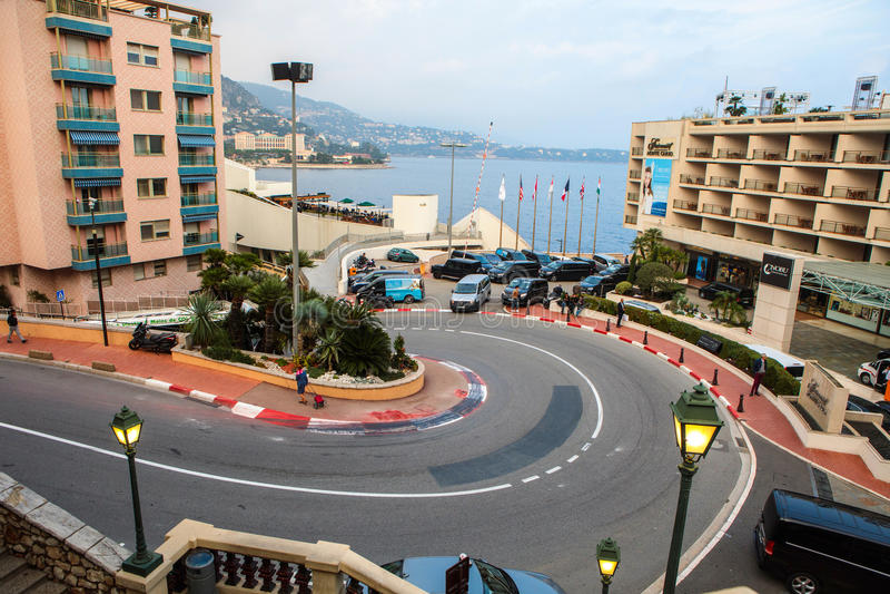 Fairmont hårnål eller Loews kurva, ett berömt avsnitt av Monaco arkivbild