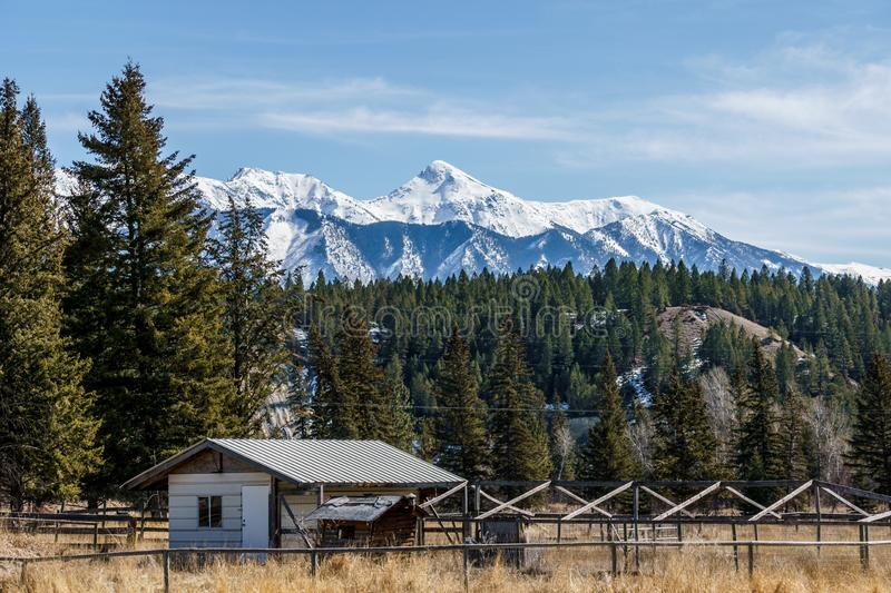 FAIRMONT HOT SPRINGS, CANADA - MARCH 22, 2019: old house or storage on the field. Trees, forest, east, british, columbia, travel, town, roadtrip, day, sunny stock photo