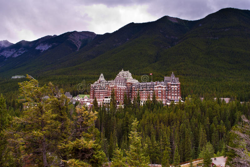 Fairmont hotel. View of the luxury Fairmont hotel,situated in the middle of the Banff national park with an outstanding landscape all around stock photos