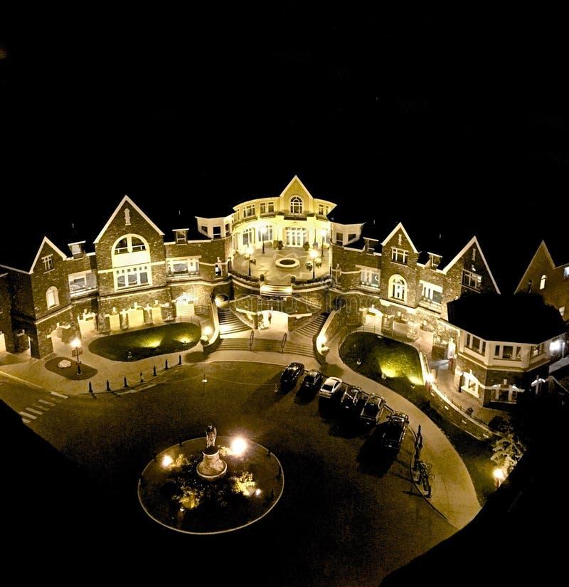 Fairmont Hotel Banff Springs. Lighted beautiful Fairmont Banff Springs Hotel at night stock image