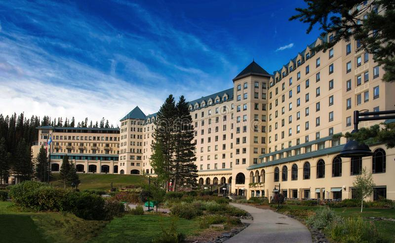 Fairmont Hotel Lake Louise. The Fairmont Hotel at Lake Louise in the Canadian Rockies, is a five star luxury hotel set in the National Park royalty free stock image