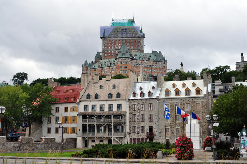 Fairmont Hotel at Quebec City, Canada. Quebec City, Canada - View of the Fairmont Hotel castle during renovation royalty free stock photography