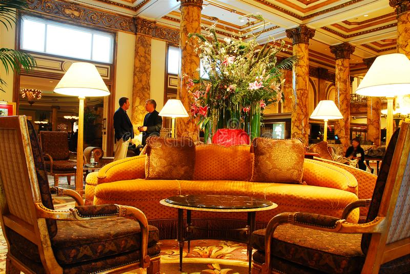 Lobby Of The Fairmont. The Fairmont Hotel in San Francisco lobby is decorated in old world elegance royalty free stock images