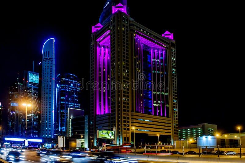 Fairmont hotel,Sheikh zayed road in Dubai. DUBAI, UAE - OCTOBER 07: The Fairmont Dubai hotel.October 07, 2014 in Dubai, United Arab Emirates, Middle East stock image