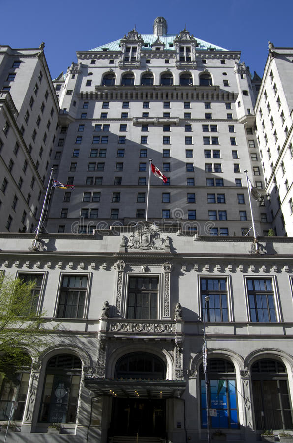The Fairmont Hotel Vancouver. Is a historic landmark located in downtown Vancouver stock image